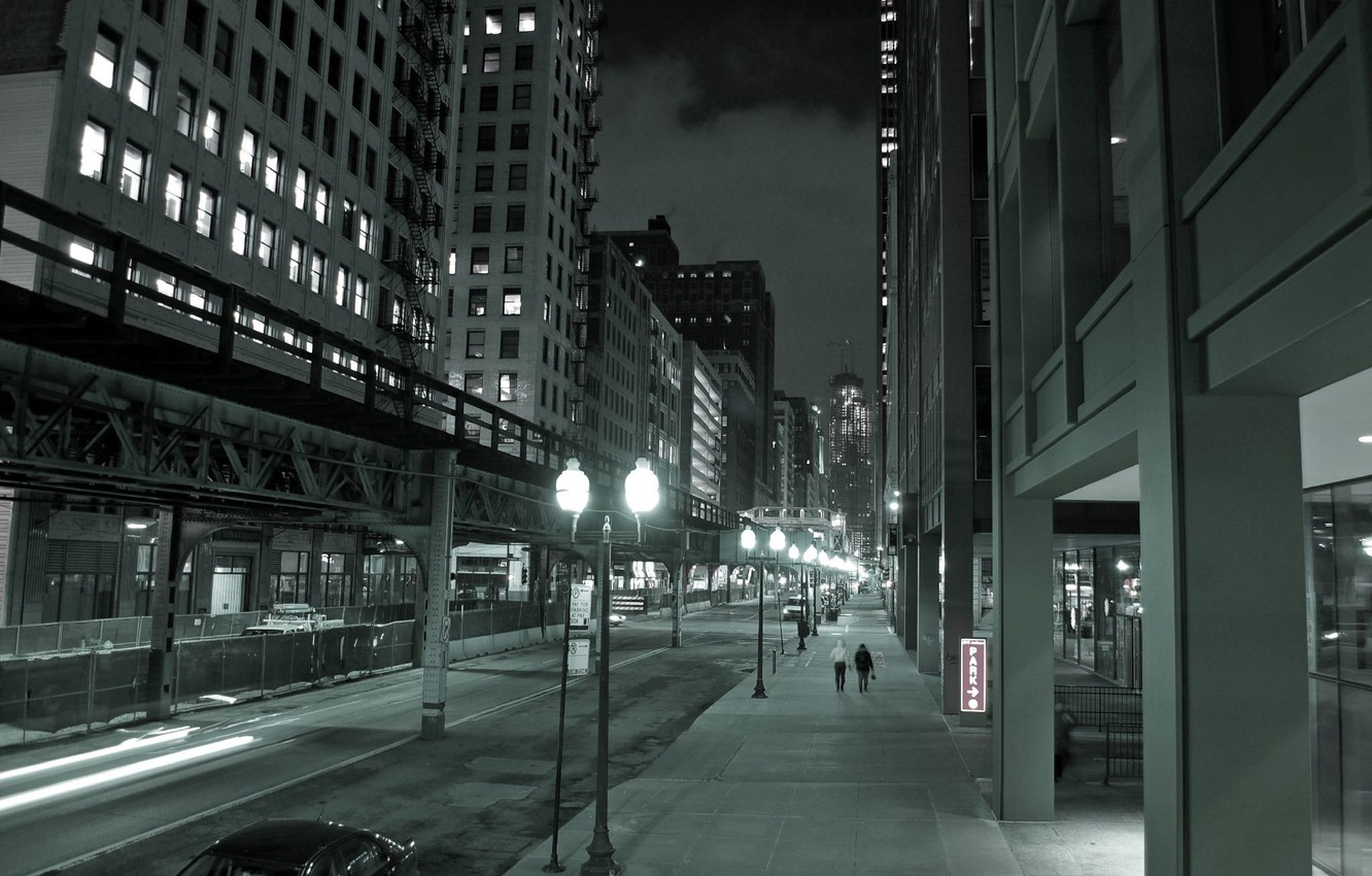 Wallpaper Night The City Lights Street Skyscrapers Chicago