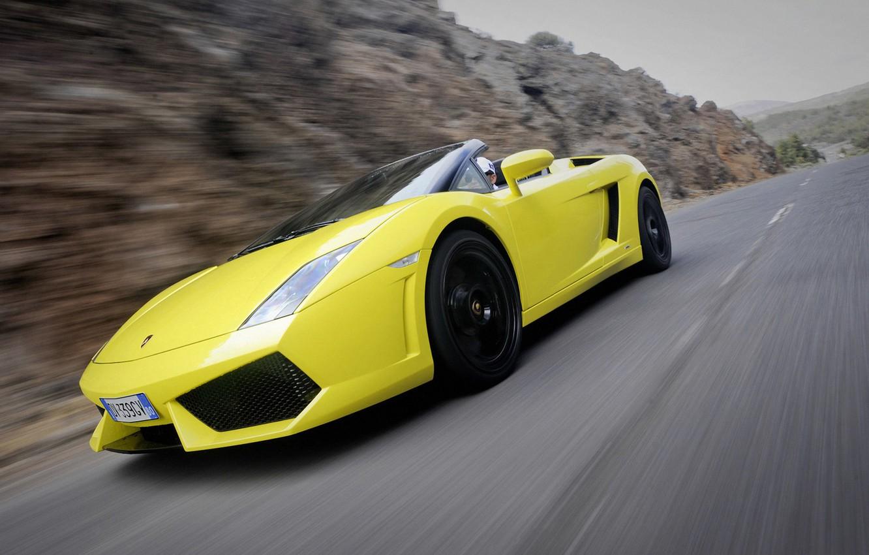 Photo wallpaper road, movement, convertible, side view, spider, Lamborghini, Gallardo, lamborghini gallardo lp560-4 spyder