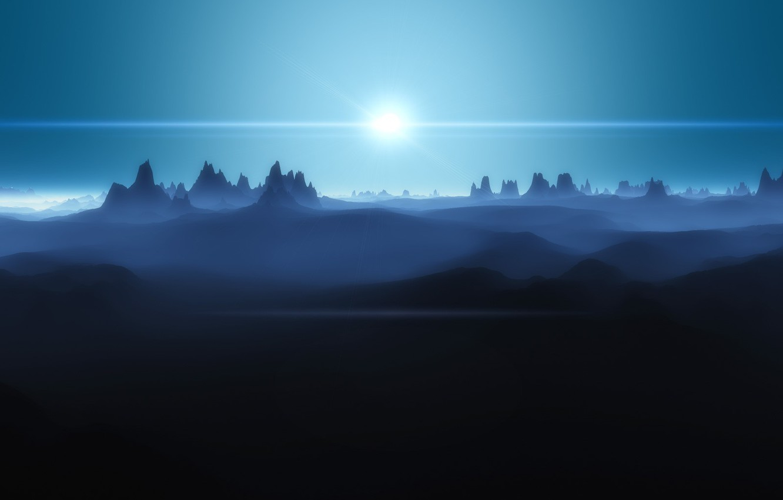 Photo wallpaper mountains, desert, The sun