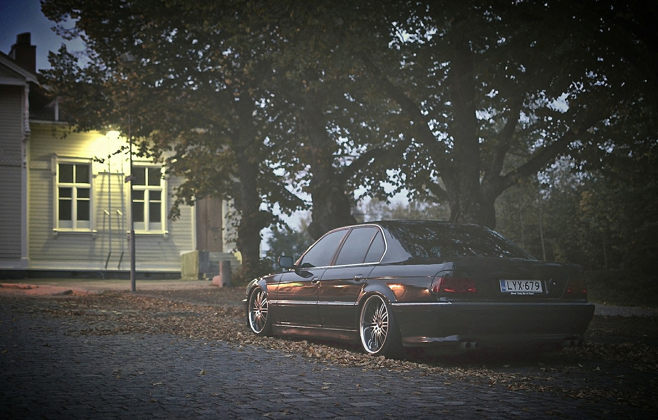 Photo wallpaper autumn, lights, tuning, bmw, BMW, 740, stance, E38