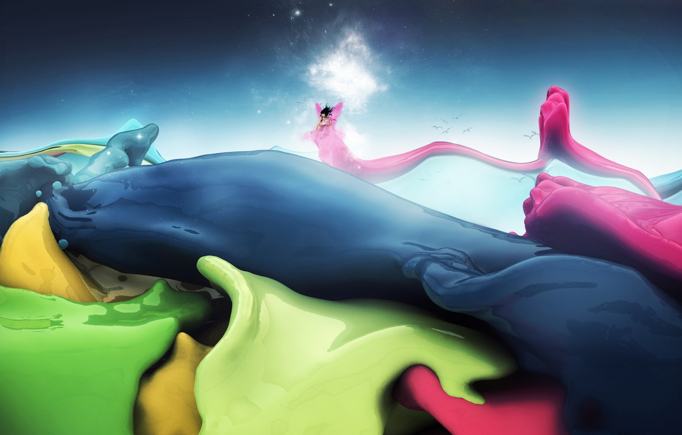 Photo wallpaper wave, the sky, color, stars, birds, paint, people, wings, glow, fairy, curves