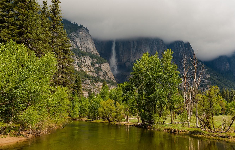 Photo wallpaper autumn, clouds, trees, mountains, clouds, nature, lake, river, waterfall, Yosemite