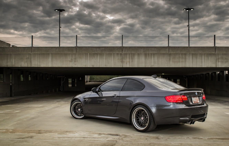 Photo wallpaper grey, bmw, BMW, Parking, rear view, grey, parking, e92