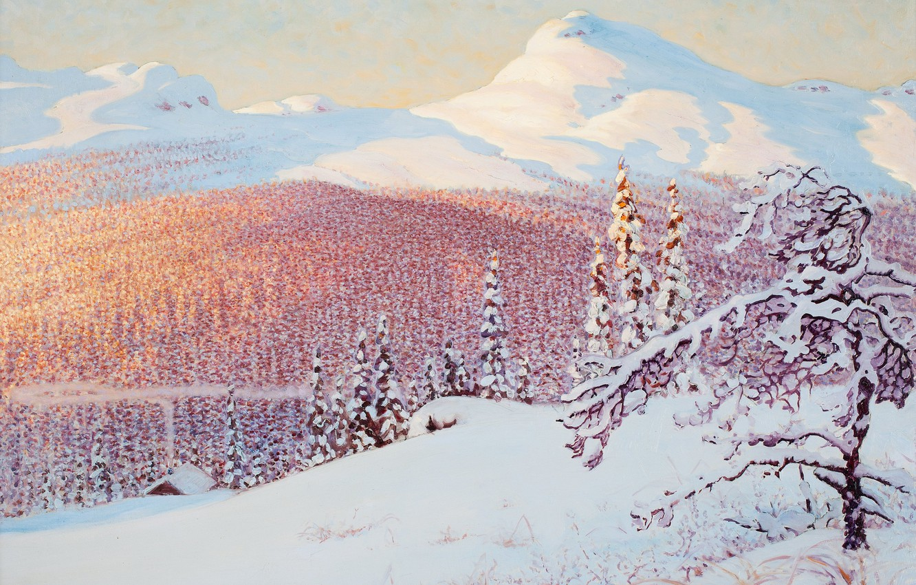 Photo wallpaper winter, Gustaf Fjaestad, snow. mountains