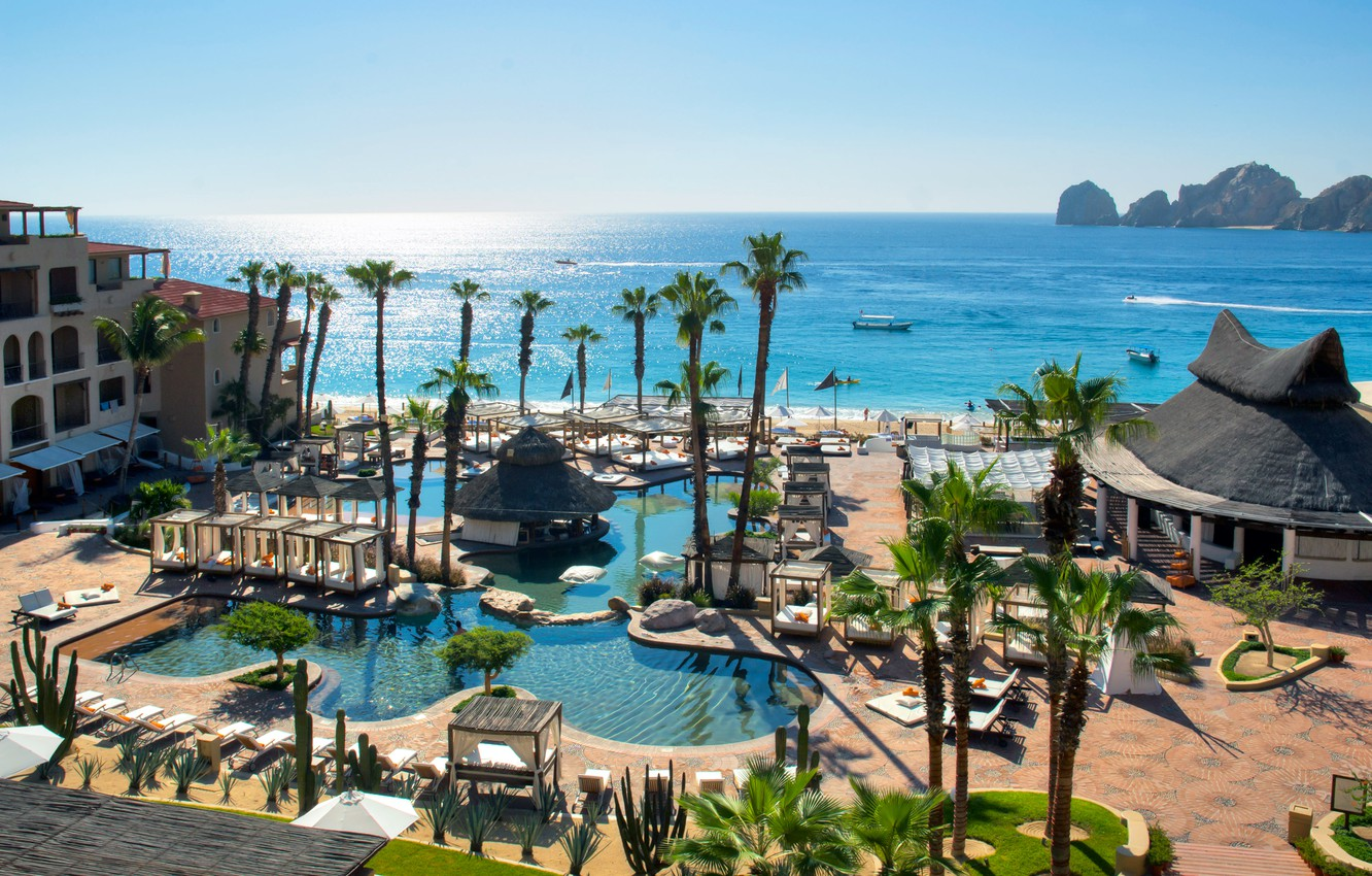 Wallpaper Palm Trees The Ocean Pool Mexico Resort Mexico Cabo San Lucas Hotel Deals Images For Desktop Section Gorod Download