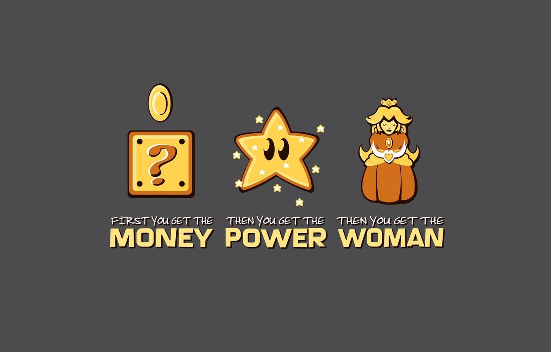Photo wallpaper women, power, money, Mario, super