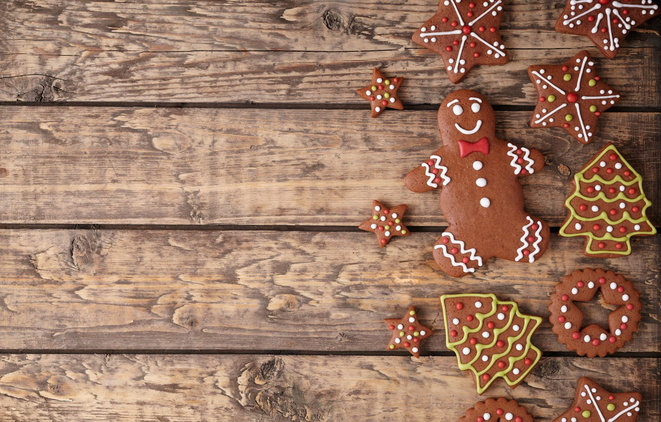 Photo wallpaper New Year, cookies, Christmas, Christmas, cakes, sweet, Xmas, glaze, cookies, decoration, gingerbread, Merry