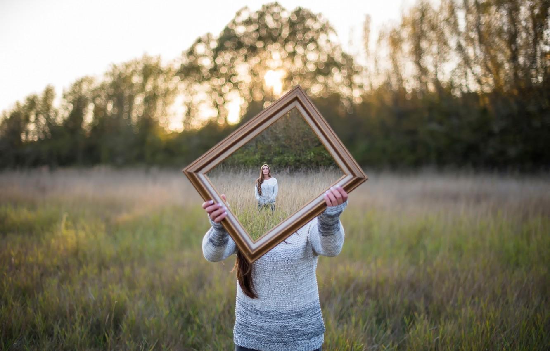 Photo wallpaper girl, mirror, illusion, Isaac Gautschi, Good Framing