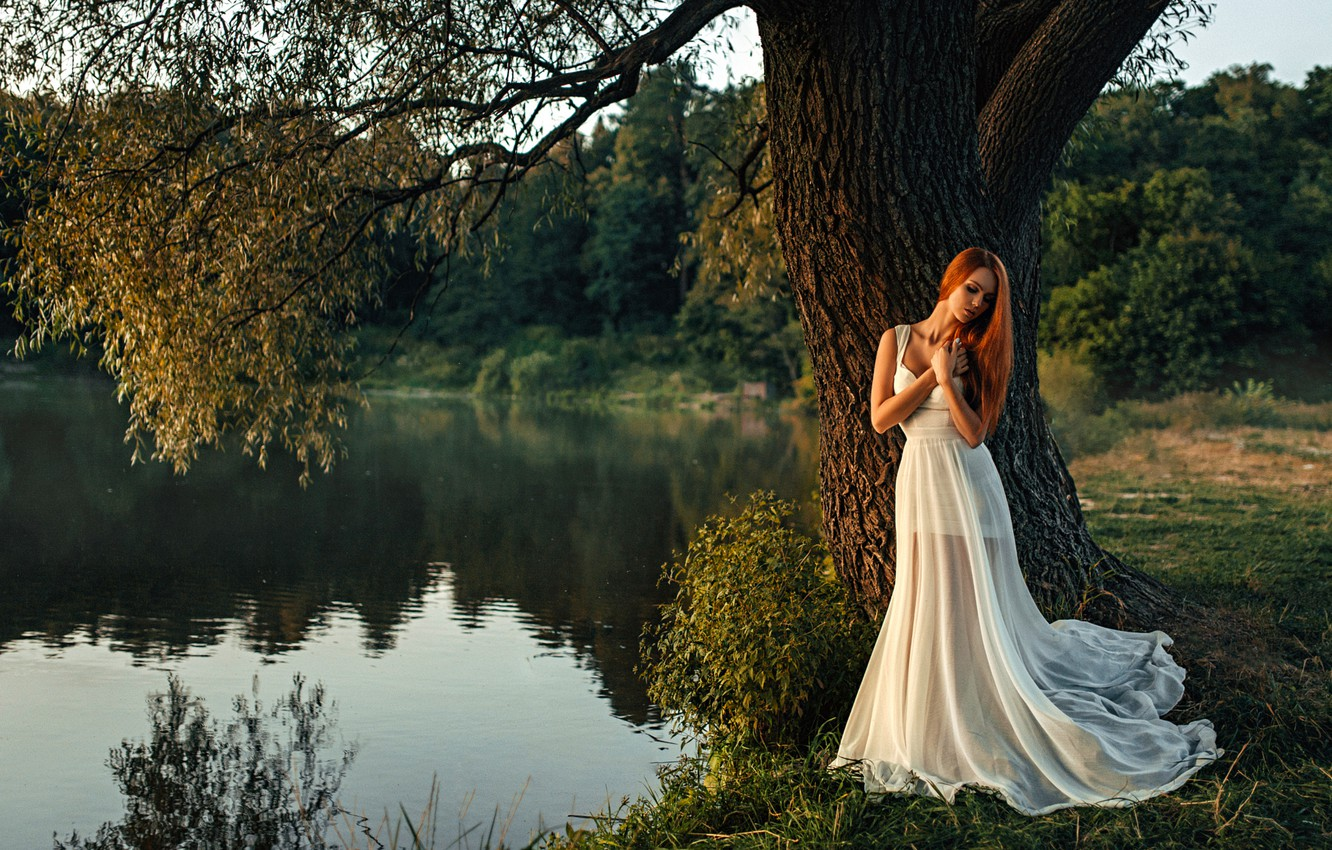 Photo wallpaper Water, Girl, Tree, Lake, Hair, Dress, White, Beautiful, Hope Niyazova