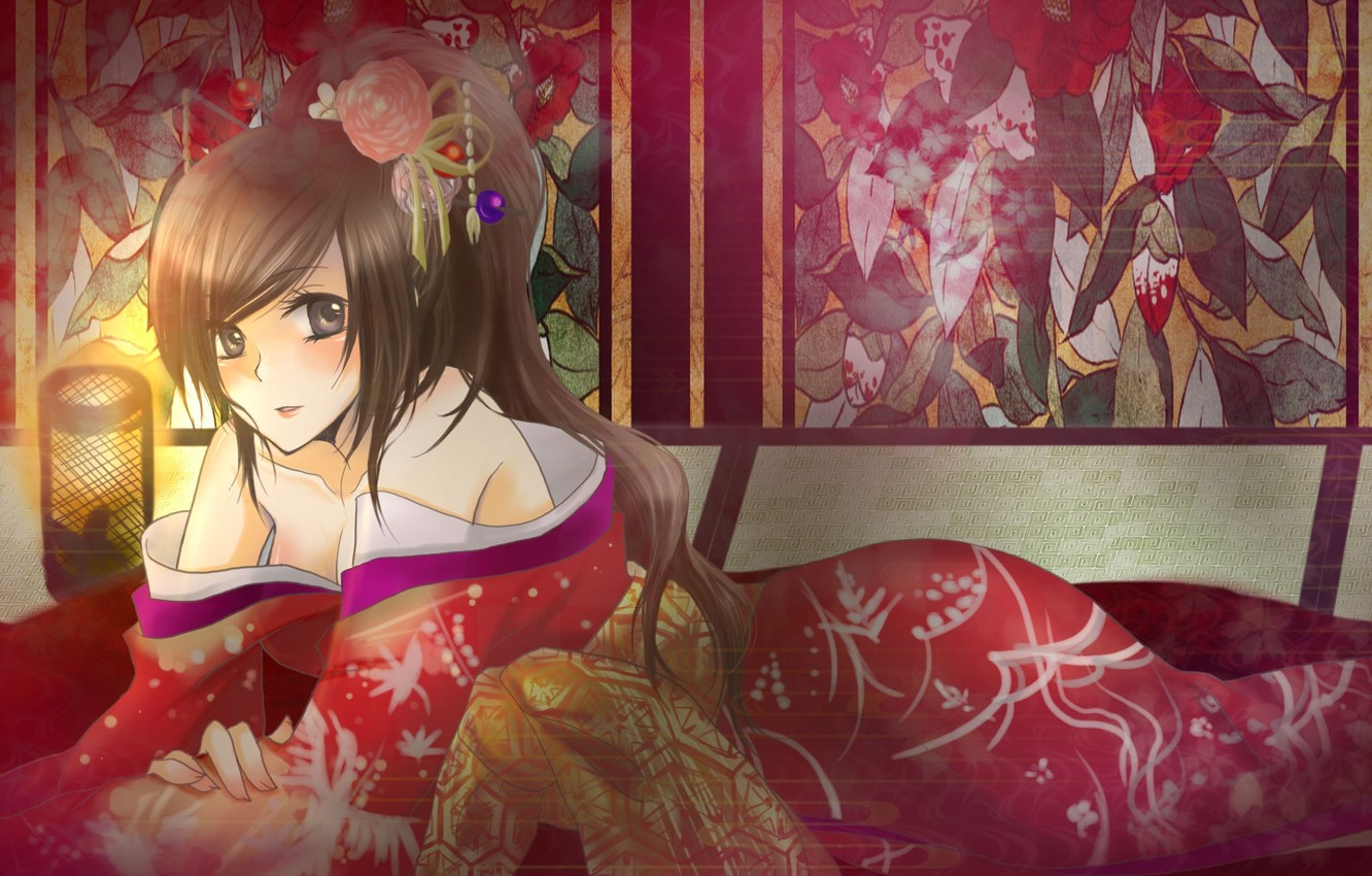Photo wallpaper Japan, comb, geisha, lantern, screen, kimono, hairstyle, shoulders, flower in hair, lying on the floor, …