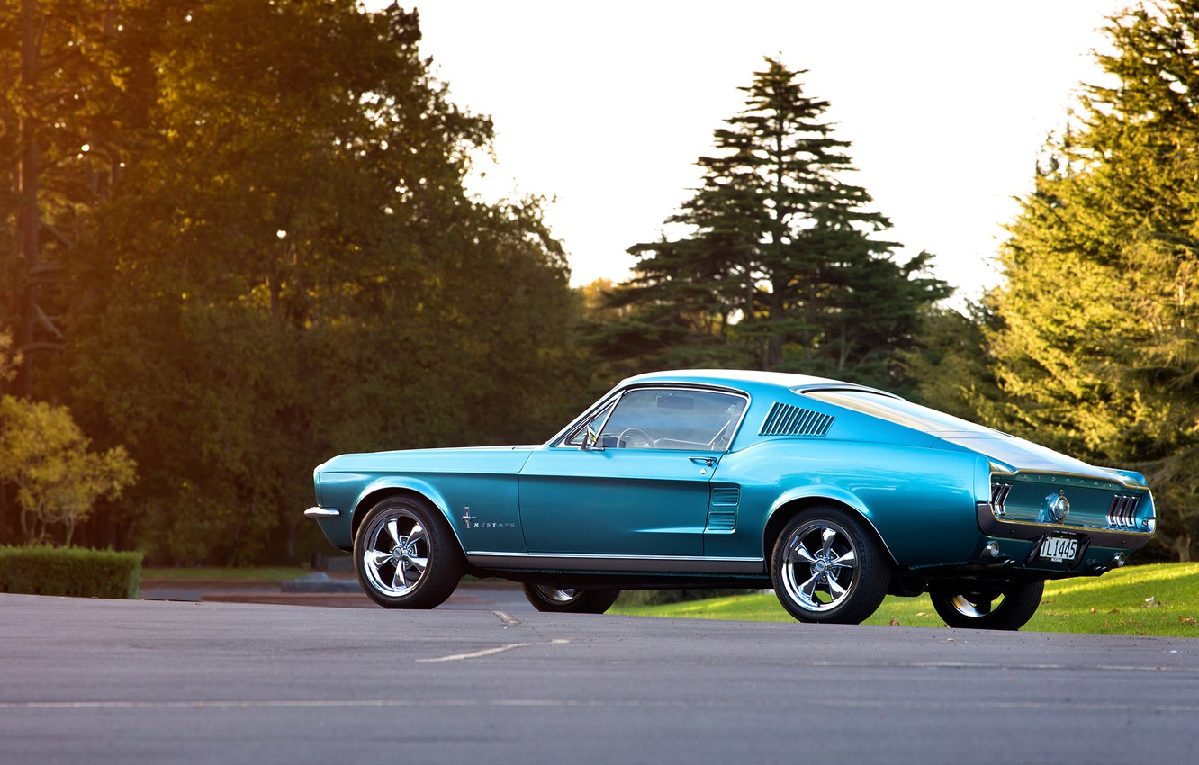 Photo wallpaper blue, Mustang, Ford, 1967, Fastback, side