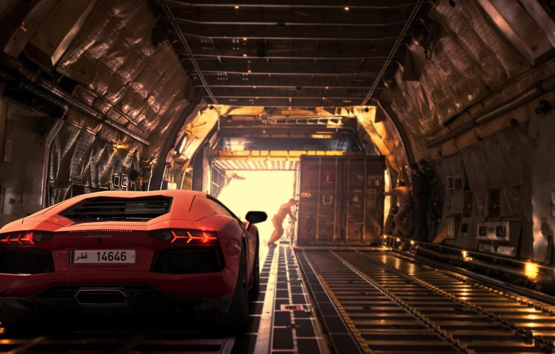 Photo wallpaper Lamborghini, Light, Orange, Dubai, LP700-4, Aventador, Supercar, Plane, Rear