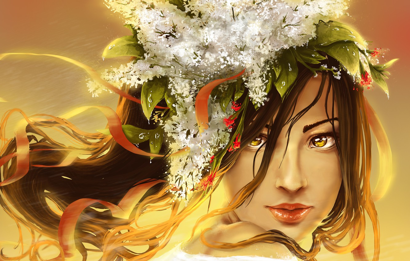 Photo wallpaper look, leaves, girl, flowers, face, hair, art, lips, painting, lilac, ribbons, yellow eyes