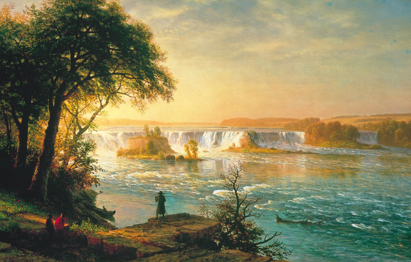 Photo wallpaper the sky, clouds, trees, landscape, river, people, boat, waterfall, picture, thresholds, Albert Bierstadt