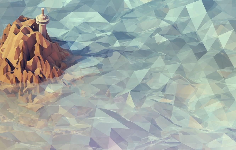 Photo wallpaper figure, island, tower, applique