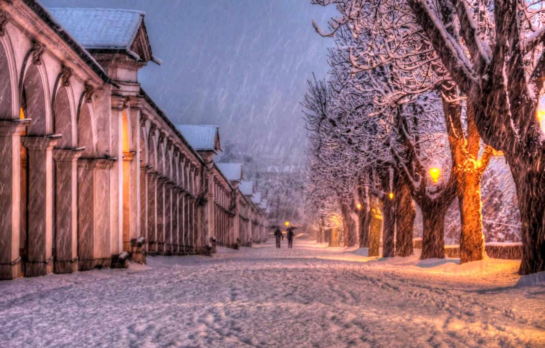 Photo wallpaper winter, the sky, clouds, snow, landscape, nature