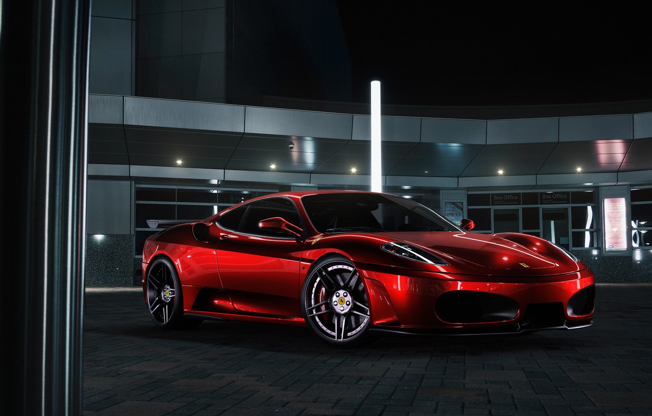 Photo wallpaper F430, Ferrari, Red, Front, Color, Supercar, Chrome