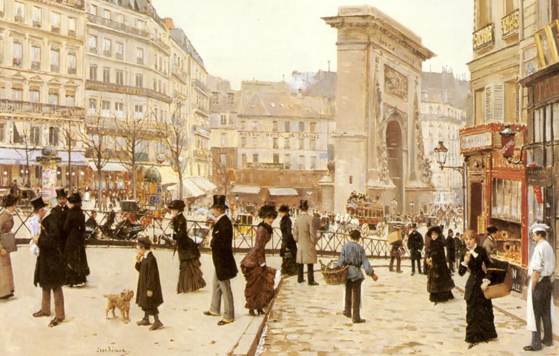 Photo wallpaper Paris, area, Triumfalnaya arch, Parisians