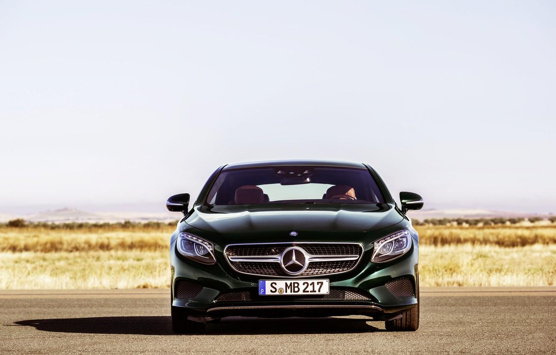 Photo wallpaper Mercedes-Benz, Auto, Green, Machine, Mercedes, Logo, Coupe, The front, S-Class