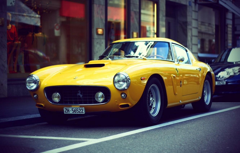 Photo wallpaper car, retro, Wallpaper, ferrari, car, Ferrari, yellow, retro, yellow, wallpapers