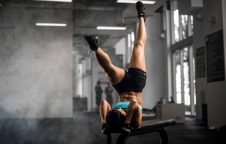 Photo wallpaper girl, bench, face, hair, sports, legs, exercise, Luz