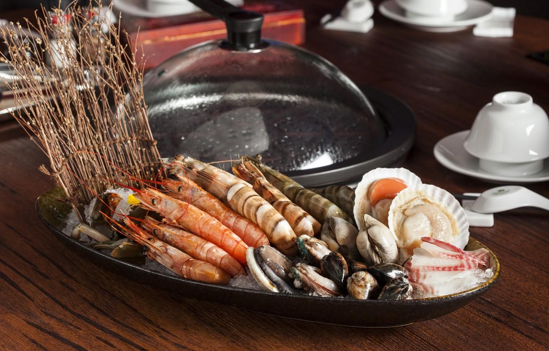 Photo wallpaper shrimp, seafood, shellfish