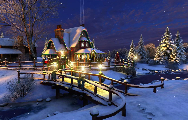 Photo wallpaper winter, stars, snow, decoration, night, bridge, lights, river, stream, holiday, tree, spruce, Christmas, lights, New …