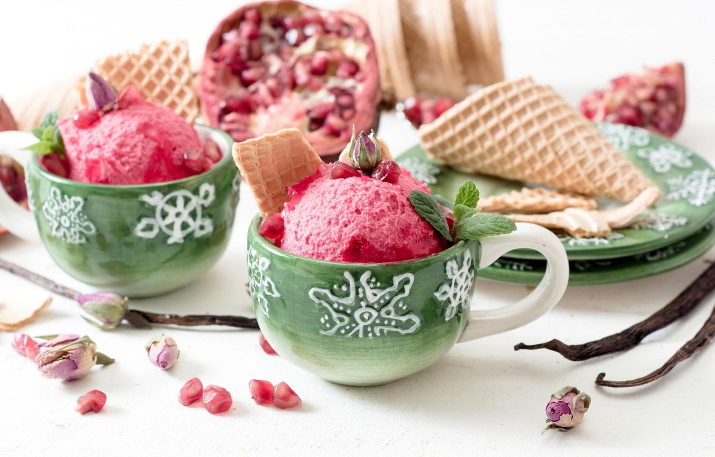 Photo wallpaper ice cream, dessert, sweet, wafer, sweet, garnet, dessert, ice cream