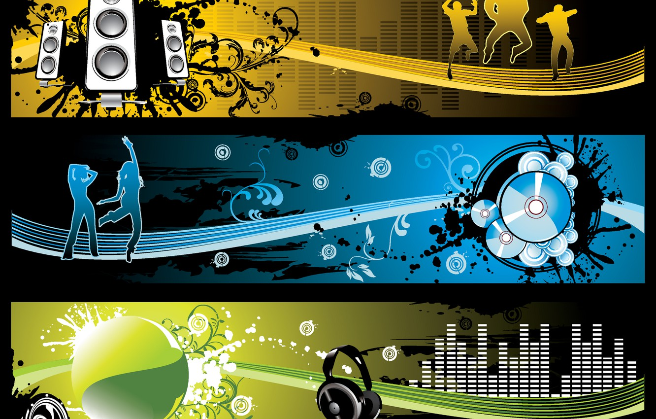 Photo wallpaper music, headphones, drives, silhouettes, the volume