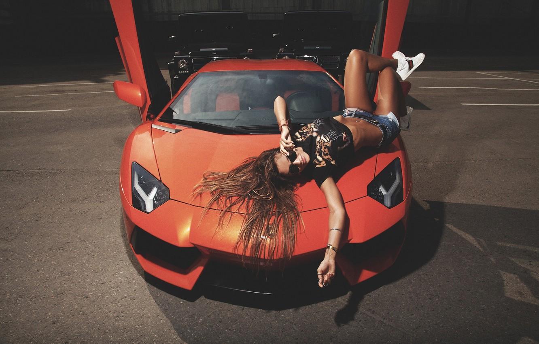 Photo wallpaper Mercedes-Benz, Girl, Lamborghini, Shorts, Girl, Door, Supercar, LP700-4, Aventador, Supercar, G, All-terrain vehicles, G 55 …