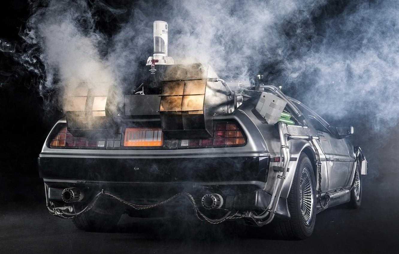 Photo wallpaper background, smoke, Back to the future, The DeLorean, rear view, DeLorean, DMC-12, exhaust, Back to …