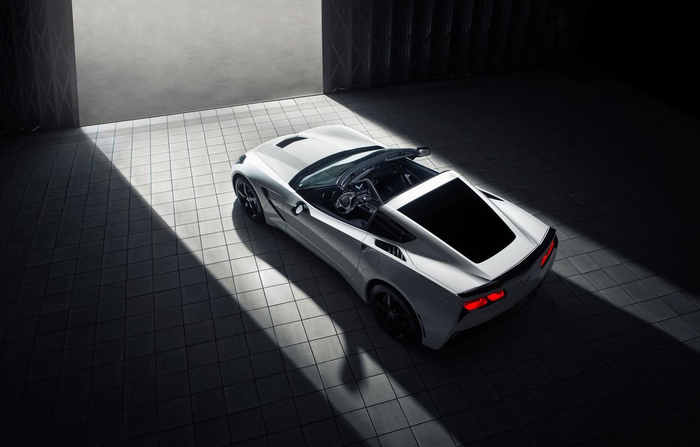 Photo wallpaper Corvette, Chevrolet, white, rear, roadster, Stingray