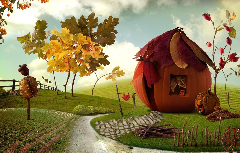 Photo wallpaper autumn, leaves, landscape, berries, bright, field, fence, village, art, track, pumpkin, house, art, green, village, …