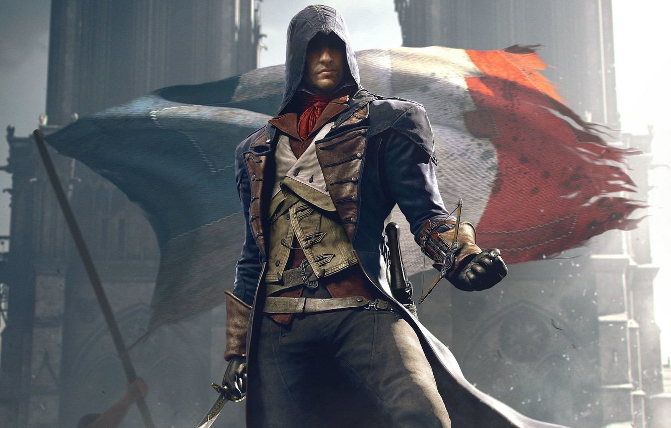 Photo wallpaper Look, Cathedral, Light, Flag, Weapons, Hood, Ubisoft, Assassin's Creed, Ubisoft Montreal, Equipment, Arno, Arno, Assassin's …