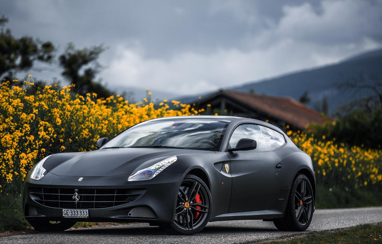 Photo wallpaper Black, Ferrari, Ferrari, Front, Black, Supercar, Italian, Supercar, Italian