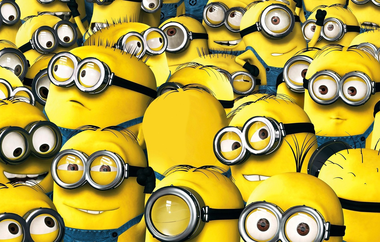Photo wallpaper animation, yellow, smile, cartoon, suit, Cyclops, Minions, Despicable Me, uniform, staff, Minion, teeth, Universal Pictures, …
