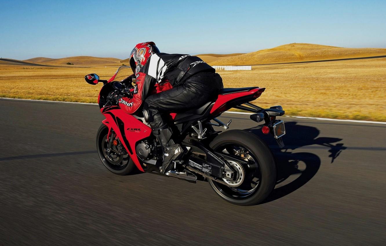 Photo wallpaper red, speed, track, costume, helmet, adrenaline, sportbike, protection