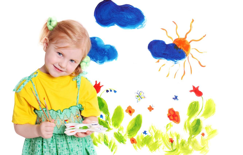 Photo wallpaper color, clouds, flowers, children, childhood, figure, child, The sun, colors, artist, beautiful, blue eyes, painting, …