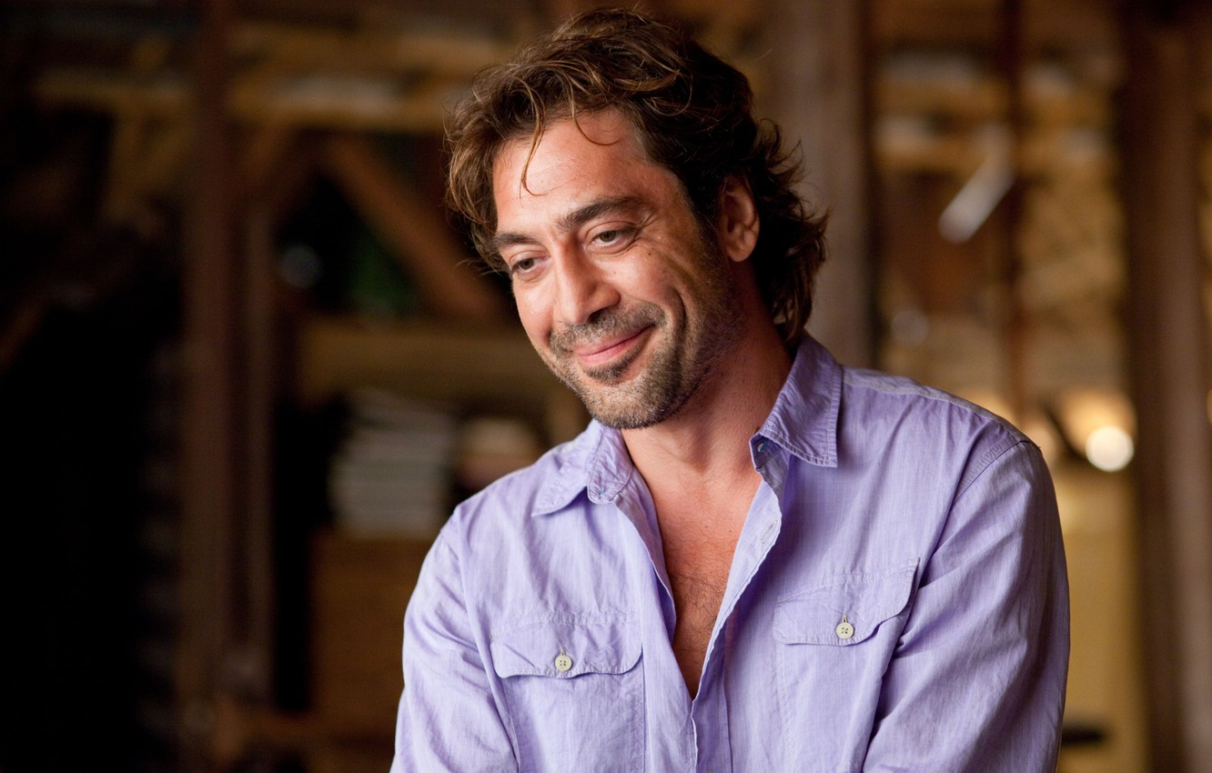 Photo wallpaper male, actor, smiling, Javier Bardem, lilac shirt, the Spaniard, Javier Bardem