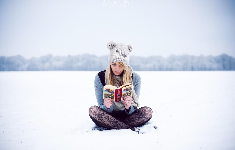 Photo wallpaper winter, girl, hat, blonde, reads