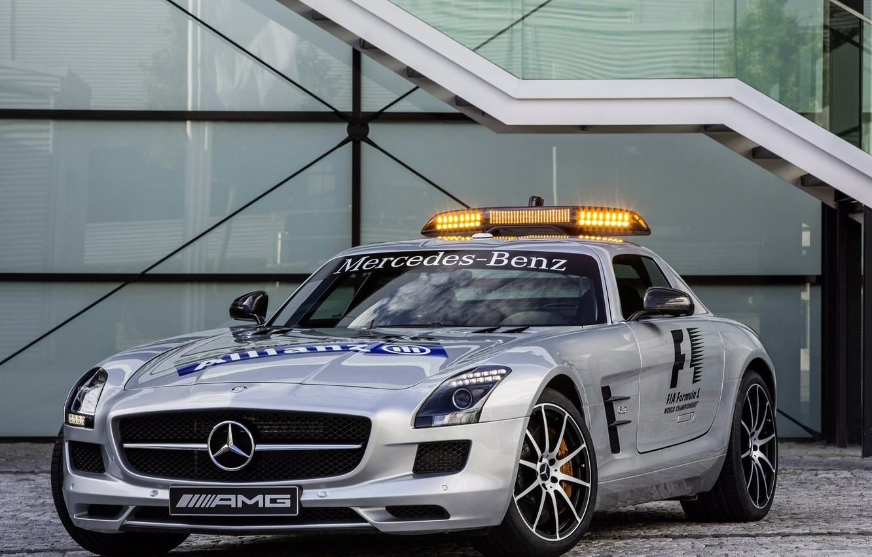 Photo wallpaper machine, silver, front view, Mercedes, safety car, SLS, mercedes-benz sls amg, gt f1