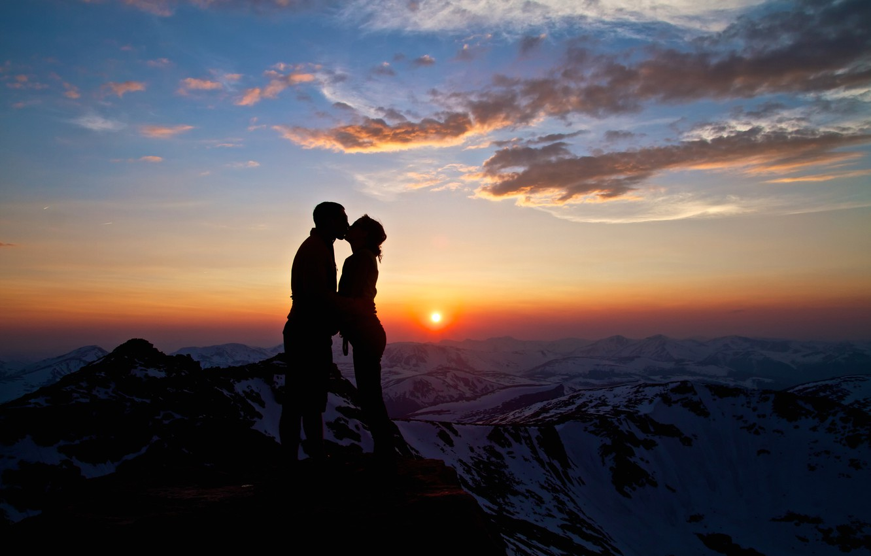 Photo wallpaper the sky, love, mountains, kiss, it