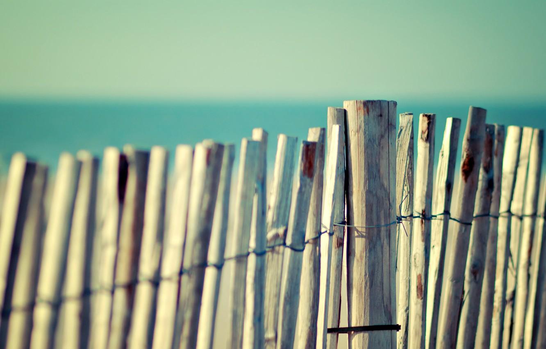 Photo wallpaper sea, summer, the sky, water, macro, tree, the ocean, widescreen, Board, heat, fence, bamboo, fences, …