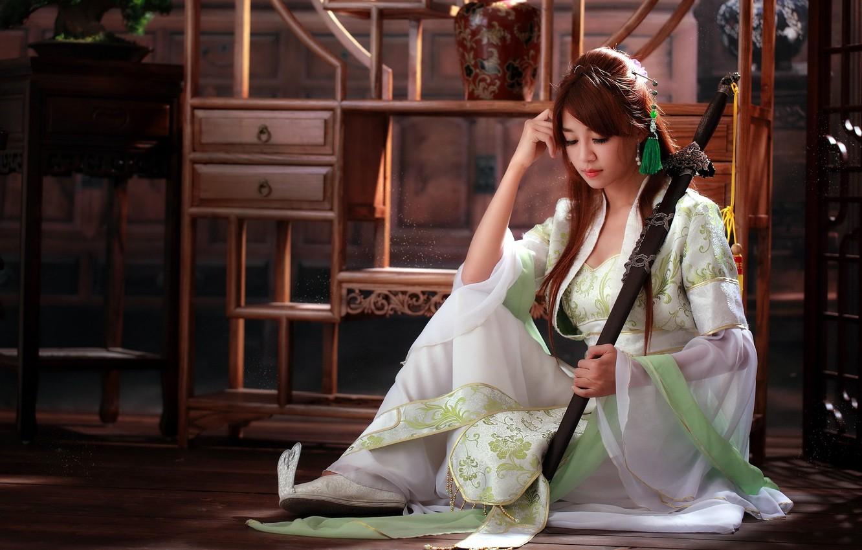 Photo wallpaper girl, sword, Asian