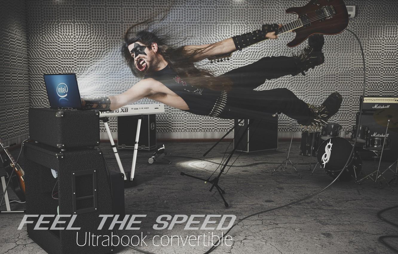 Photo wallpaper guitar, speed, laptop, Intel, guy, Studio, laptop, rocker