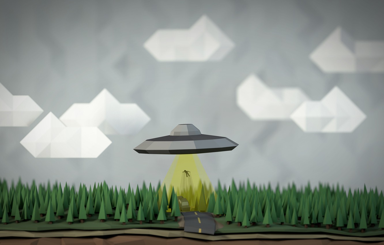 Photo wallpaper the sky, people, UFO, kidnapping, geometry, figure, UFO