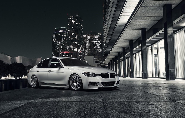 Photo wallpaper BMW, City, Front, White, 328i, F30, Alpine, Wheels, Nigth, VMR