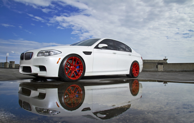 Photo wallpaper white, reflection, BMW, puddle, BMW, white, f10