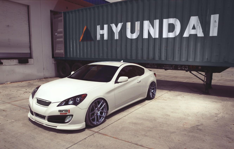 Photo wallpaper white, coupe, white, hyundai, Hyundai, genesis, Genesis