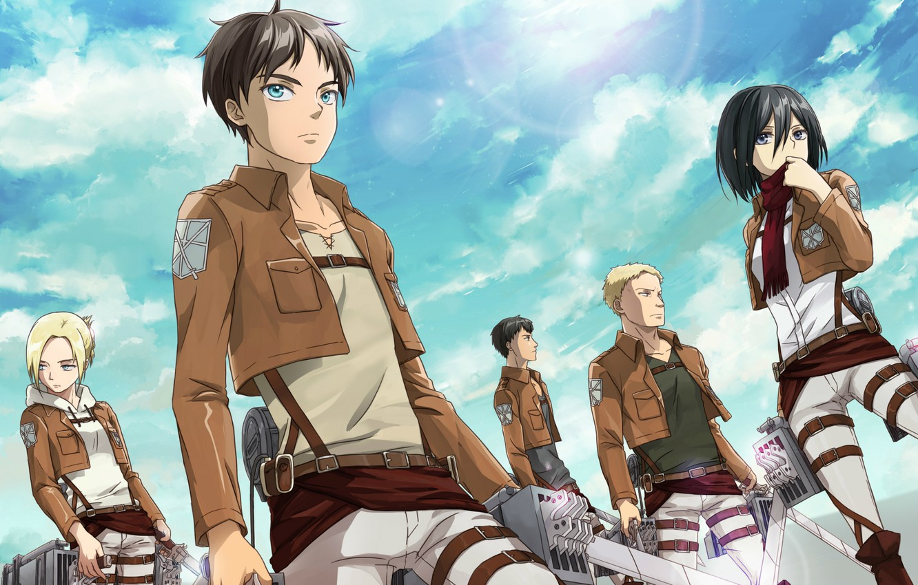 Wallpaper The Sky Emblem Swords Military Uniform Fan Art The Invasion Of The Giants Mikasa Ackerman Eren Yeager Annie Leonhardt Shingeki No Kyojin Marco Bodt Reiner Braun Images For Desktop Section Syonen